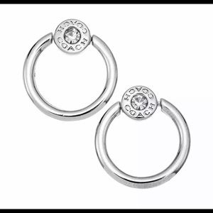 Coach Open Circle Halo Stud Earrings Silver